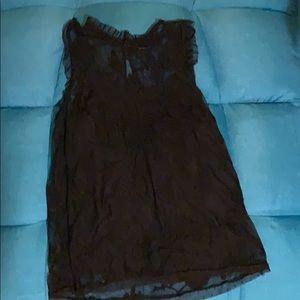 Tops - Black Lace and Polka Dot Blouse